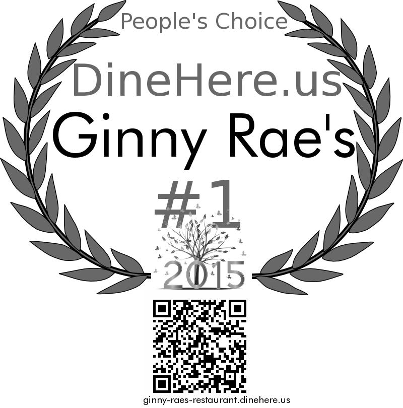 Ginny Rae's DineHere.us 2015 Award Winner